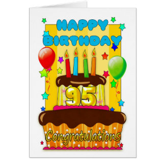 birthday cake with candles - happy 95th birthday greeting card