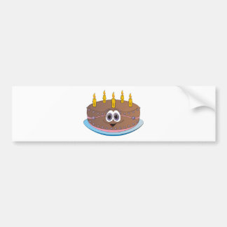 Birthday Cake with Gold Candles Cartoon Bumper Sticker