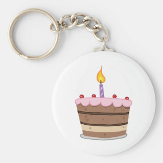 Birthday Cake With One Candle Lit Basic Round Button Key Ring