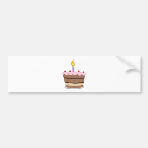 Birthday Cake With One Candle Lit Bumper Sticker