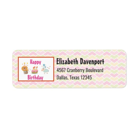 Birthday Cake with Party Lion and Balloon Sheep Return Address Label