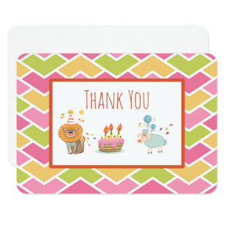 Birthday Cake with Party Lion and Sheep Thank You Card