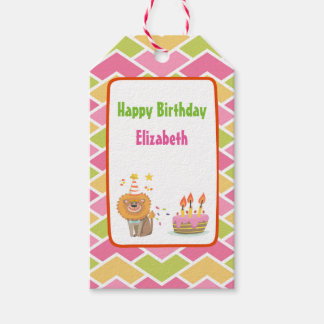 Birthday Cake with Party Lion Happy Birthday Gift Tags