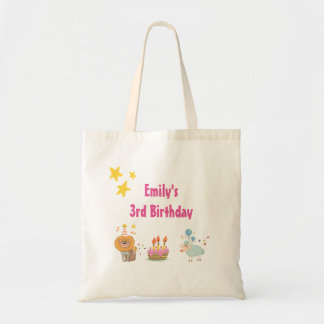 Birthday Cake with Party Lion Happy Birthday Tote Bag