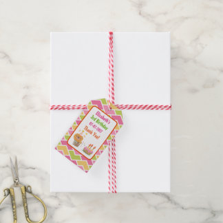 Birthday Cake with Party Lion Thank You Gift Tags