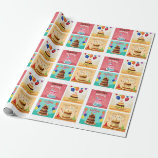 Birthday Cakes Pattern Wrapping Paper