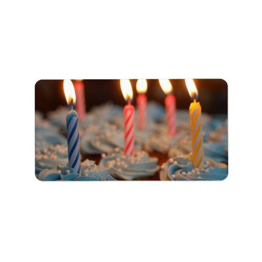 Birthday Candle Cupcakes Address Label