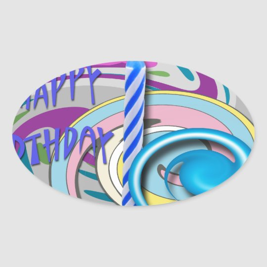 Birthday candle oval sticker
