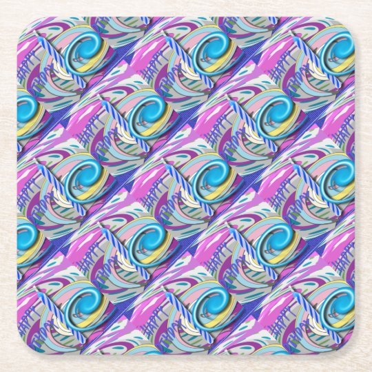 Birthday candle square paper coaster