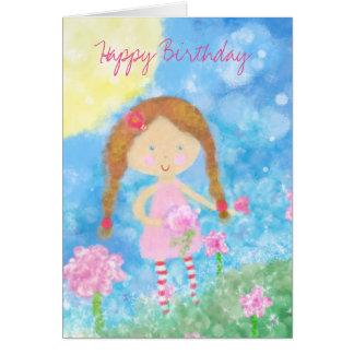 Birthday Card, Birthday Girl, Cute Girl Card