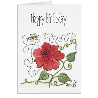 Birthday Card, Bumble Bee and Red Hibiscus Card