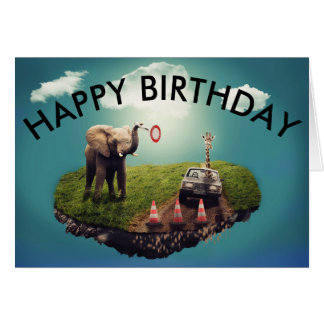 Birthday Card  - Elephant and Giraffe