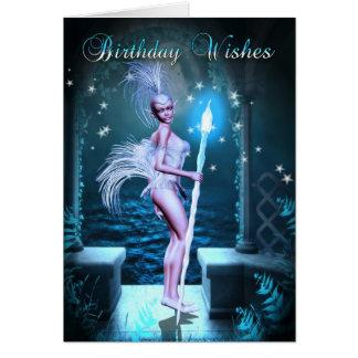 Birthday Card - Fantasy Art With Cute Elf