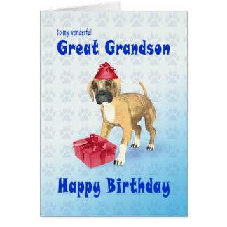 Birthday card for a great grandson with a puppy