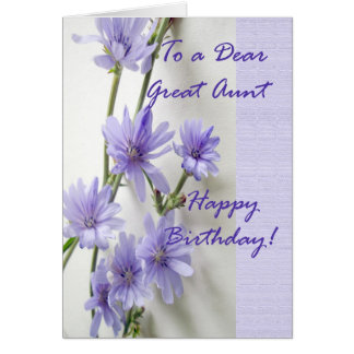 Birthday Card for Great Aunt, Chicory Flowers