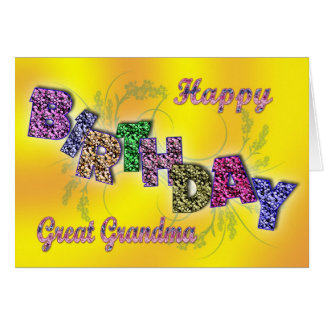 Birthday card for great grandma with floral text