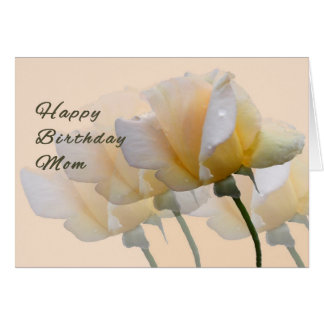 Birthday, Card, for Mom with Yellow Roses Card