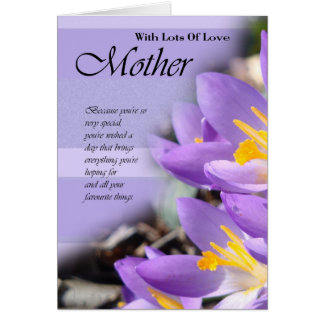 Birthday Card for Mother, Mother Card with flowers