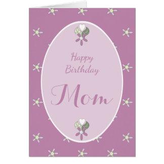Birthday Card for Mum purple shabby chic