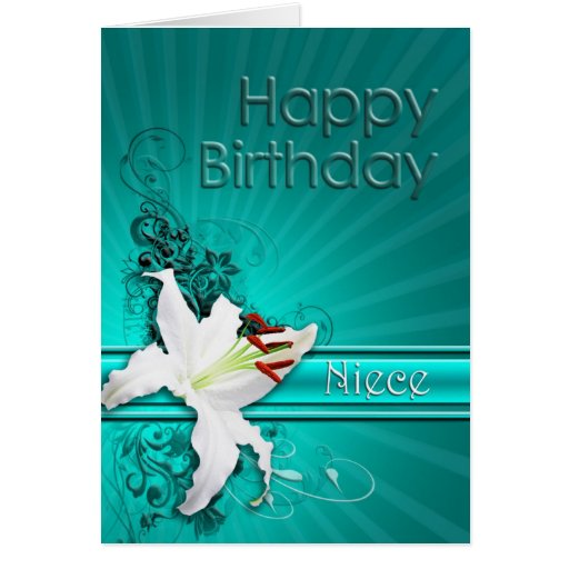 Birthday card for niece with a white lily