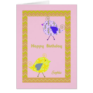 Birthday Card for Sophia with Designer Birds