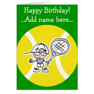Birthday card for tennis players kids