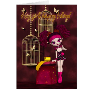 Birthday Card Gothic Doll
