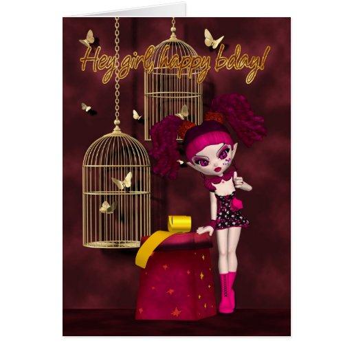 Birthday Card Gothic Doll