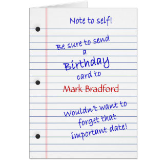 BIRTHDAY CARD - PERSONALIZE NAME - NOTE TO SELF