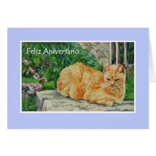 Birthday Ecards In Portuguese ~ Birthday card portuguese greeting ginger cat