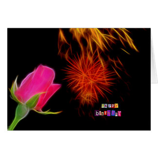 birthday card rose and fireworks