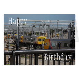 Birthday Card - Trains coming and going