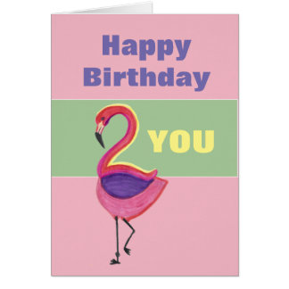 Birthday Card with a Flamingo