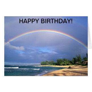 Birthday card with a perfect seaside rainbow