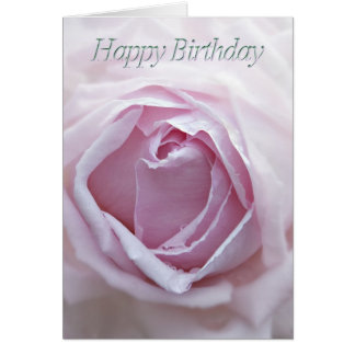 Birthday card with a pink rose