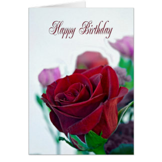 Birthday card with a red rose