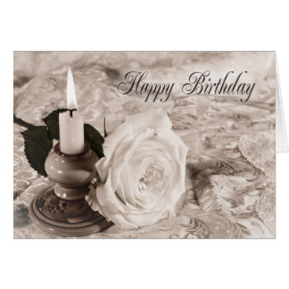 Birthday card with an antique rose