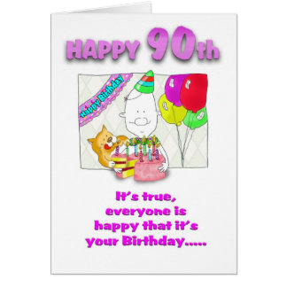 Birthday card with cake_90th
