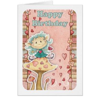 birthday card with cute little elf on mushroom