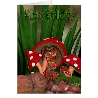 Birthday Card With Cute Modern Elf
