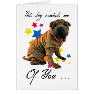 birthday card with cute shar pei - humorous card
