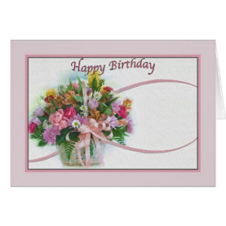 Birthday Card with Floral Bouquet