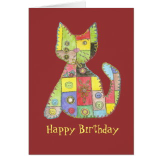 Birthday Card with patchwork cat