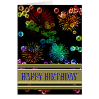 Birthday card with rainbow bubbles and fireworks