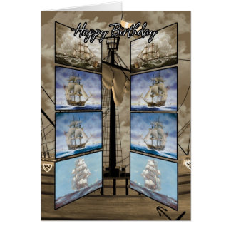 Birthday Card with Tall Ships, Caravel, Sloop