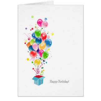 Birthday Cards Colorful Balloons Burst