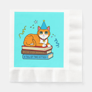 Birthday Cat with Hat on Books Paper Napkins