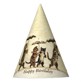 Birthday Cats Walking Upright in Snow Umbrellas Party Hat
