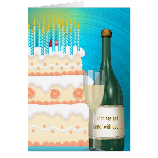 Birthday Champagne and Cake Card