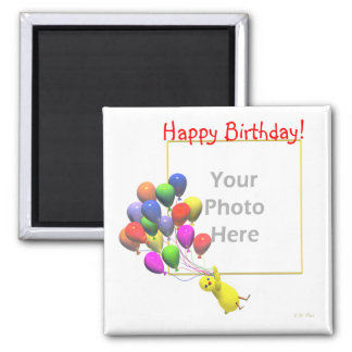 Birthday Chicken and Balloons (photo frame) Square Magnet